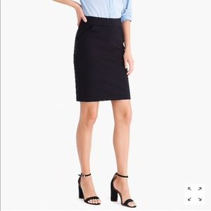 J. Crew Black Cotton Pencil Skirt